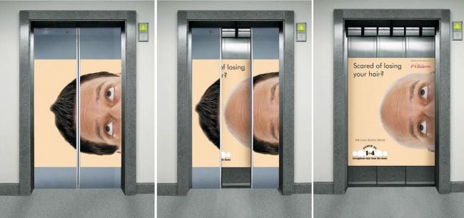 Реклама сыворотки против выпадения волос Folliderm.