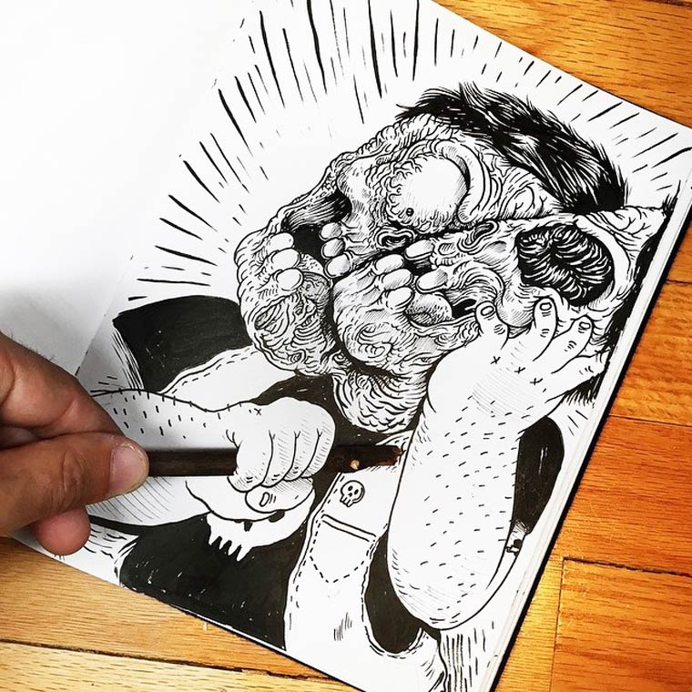 Inkteraction part 2 - When illustrator Alex Solis is fighting against his own drawings
