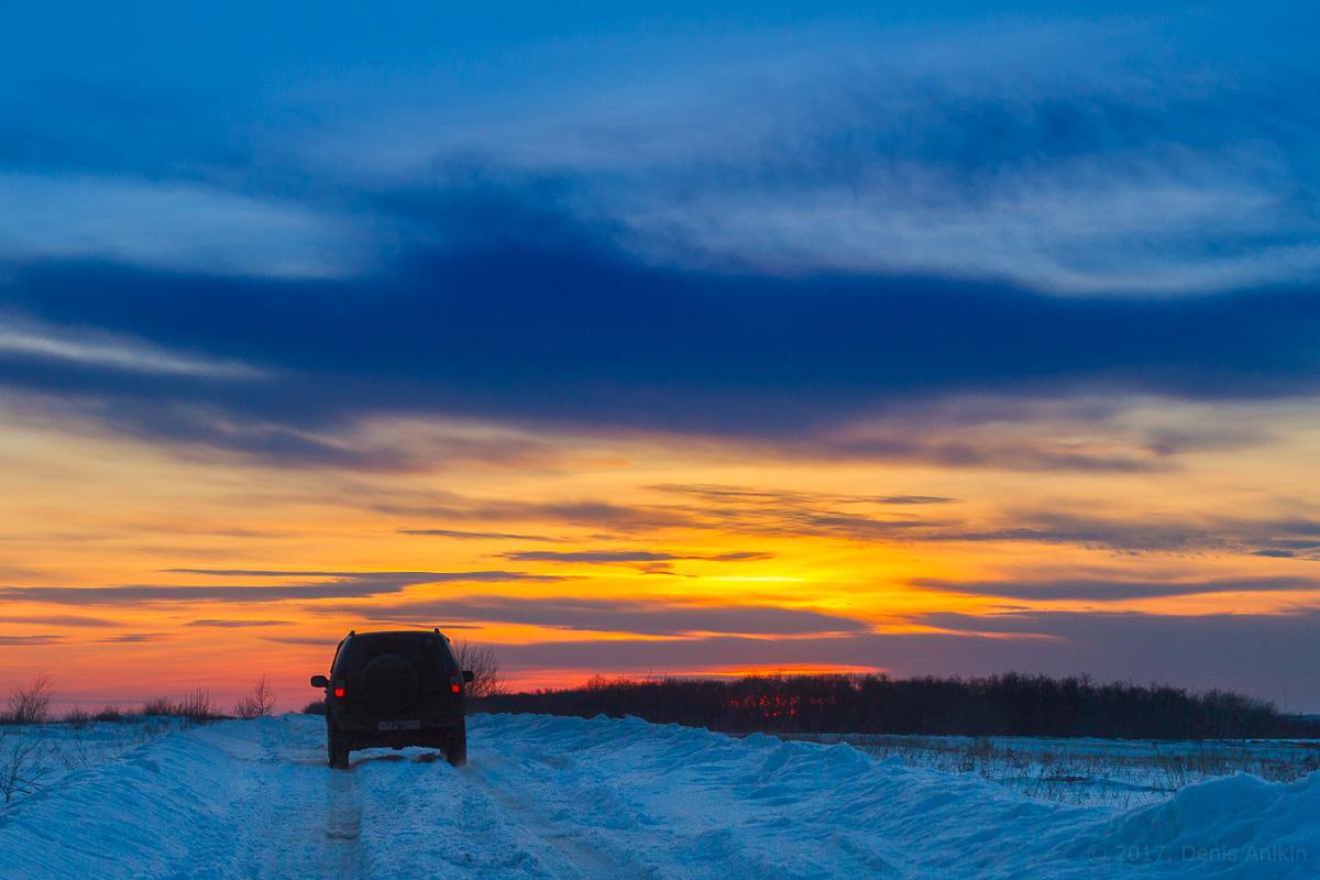 зима закат фото 1