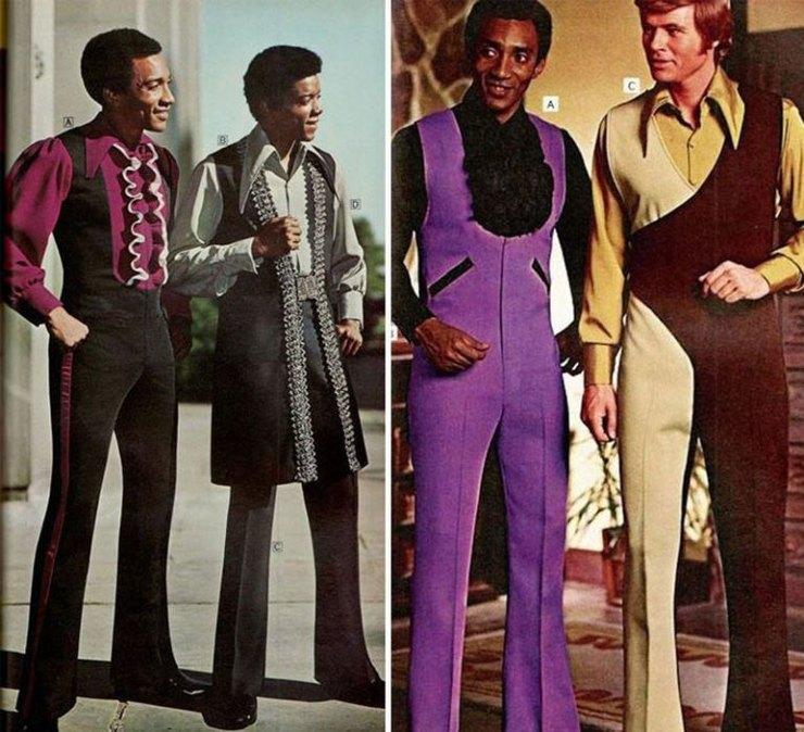 …мужские комбинезоны с клешеными брюками…
