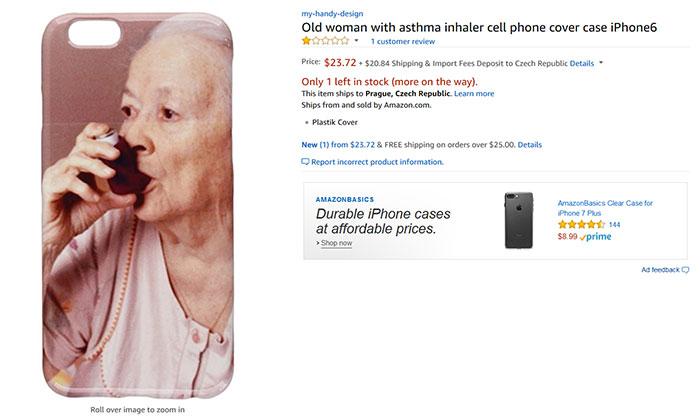 Пожилая женщина с ингалятором от астмы, чехол для iPhone 6.