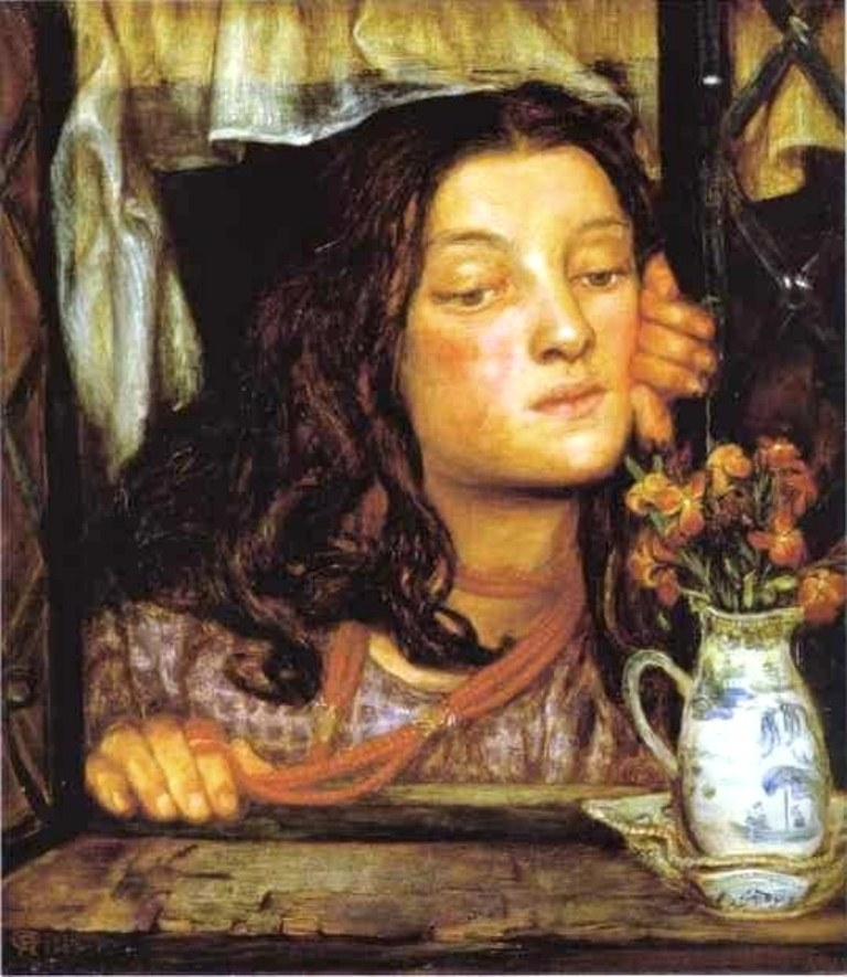 Dante Gabriel Rossetti (1828-1882). Girl at a Latrice. 1862. Fitzwilliam Museum, Cambridge, UK..jpg