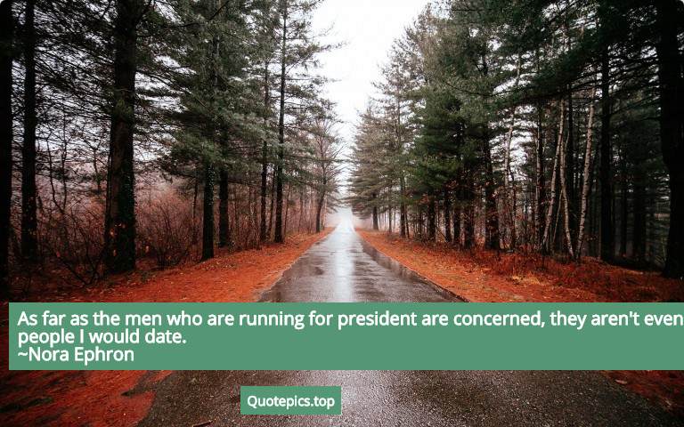 As far as the men who are running for president are concerned, they aren't even people I would date. ~Nora Ephron