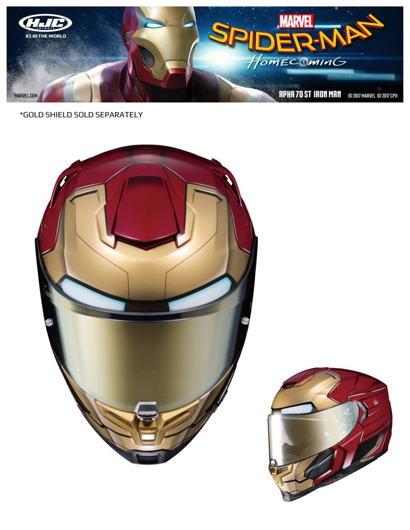 Компания HJC представила новые мотошлем Человека-Паука и Железного Человека