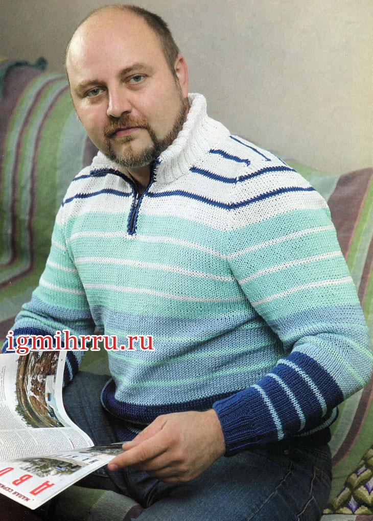 Мужской пуловер в полоску, на застежке-молнии. Вязание спицами
