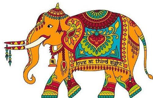 Индийский слон в рисунках