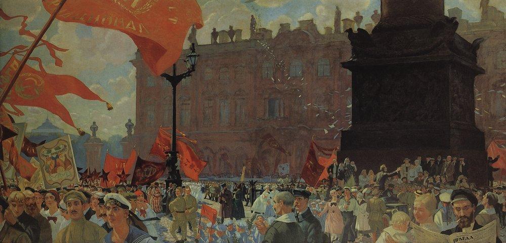 10-Борис Кустодиев. Праздник в честь открытия II конгресса Коминтерна 19 июля 1920 года. Демонстрация на площади Урицкого. 1921