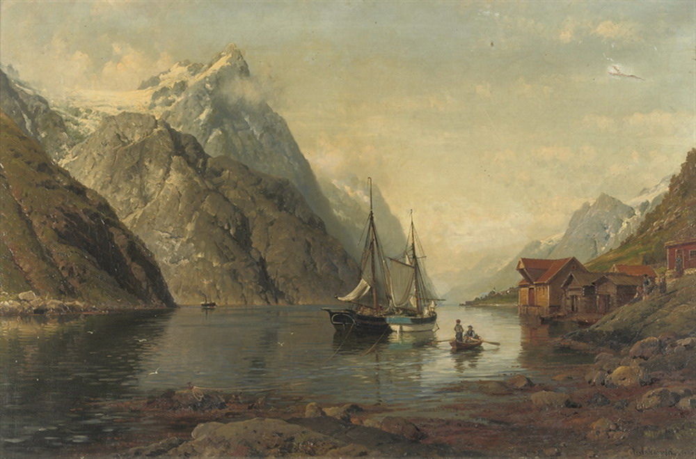 2 Anders Monsen Askevold     Anchored Sailing Vessels in a Fjord.jpg