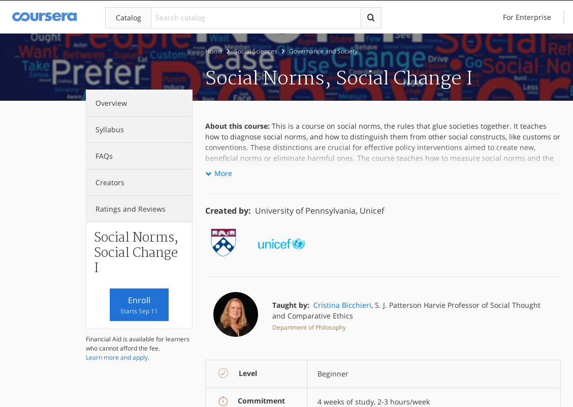Курс по социальной инженерии: «Social Norms, Social Change I»