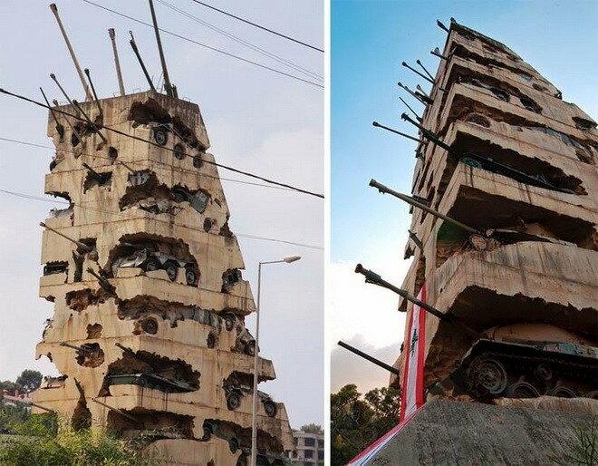 Танковый монумент «Надежда на мир». Бейрут, Ливан
