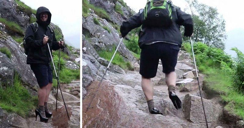Студент забрался на самую высокую гору Великобритании на 13-см каблуках