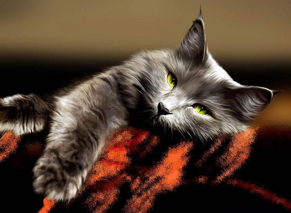 Кошка постарается удержаться на ваших коленях даже когда вы встаете со стула. До последней мину