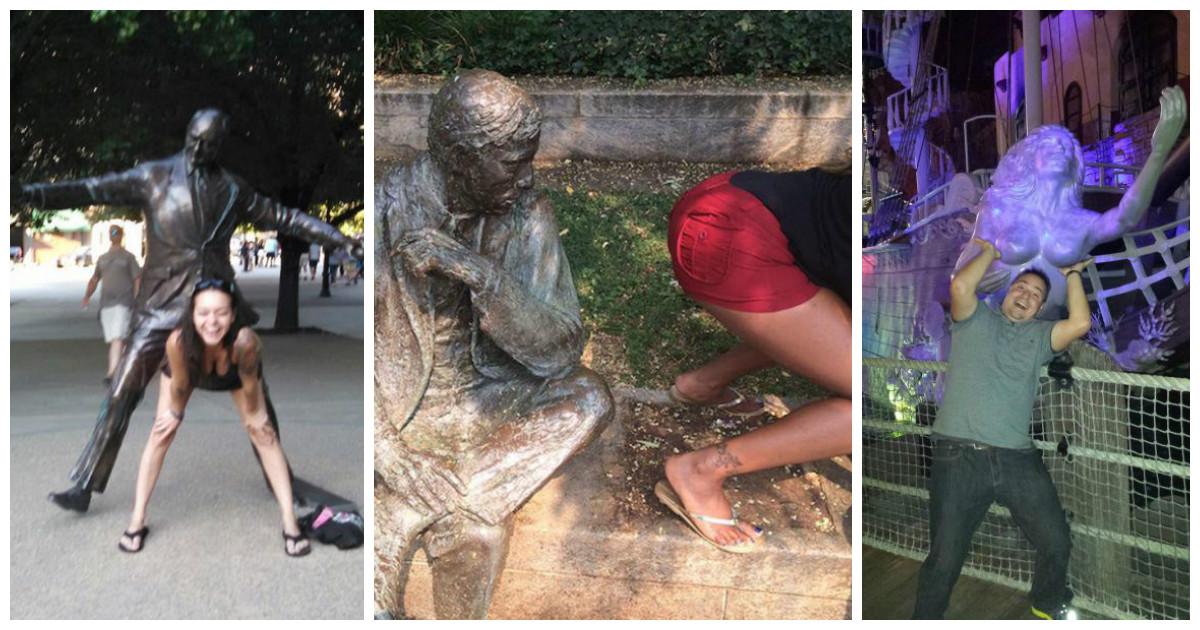 Уморительные фото со статуями (31 фото)
