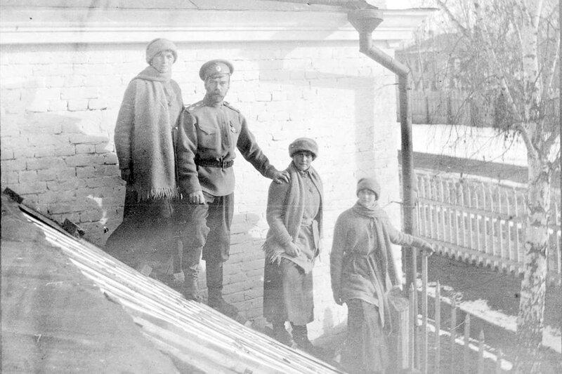 Grand Duchess Olga, Tsar Nicholas II, Grand Duchess Anastasia, and Grand Duchess Tatiana at Tobolsk in the winter of 1917–1918