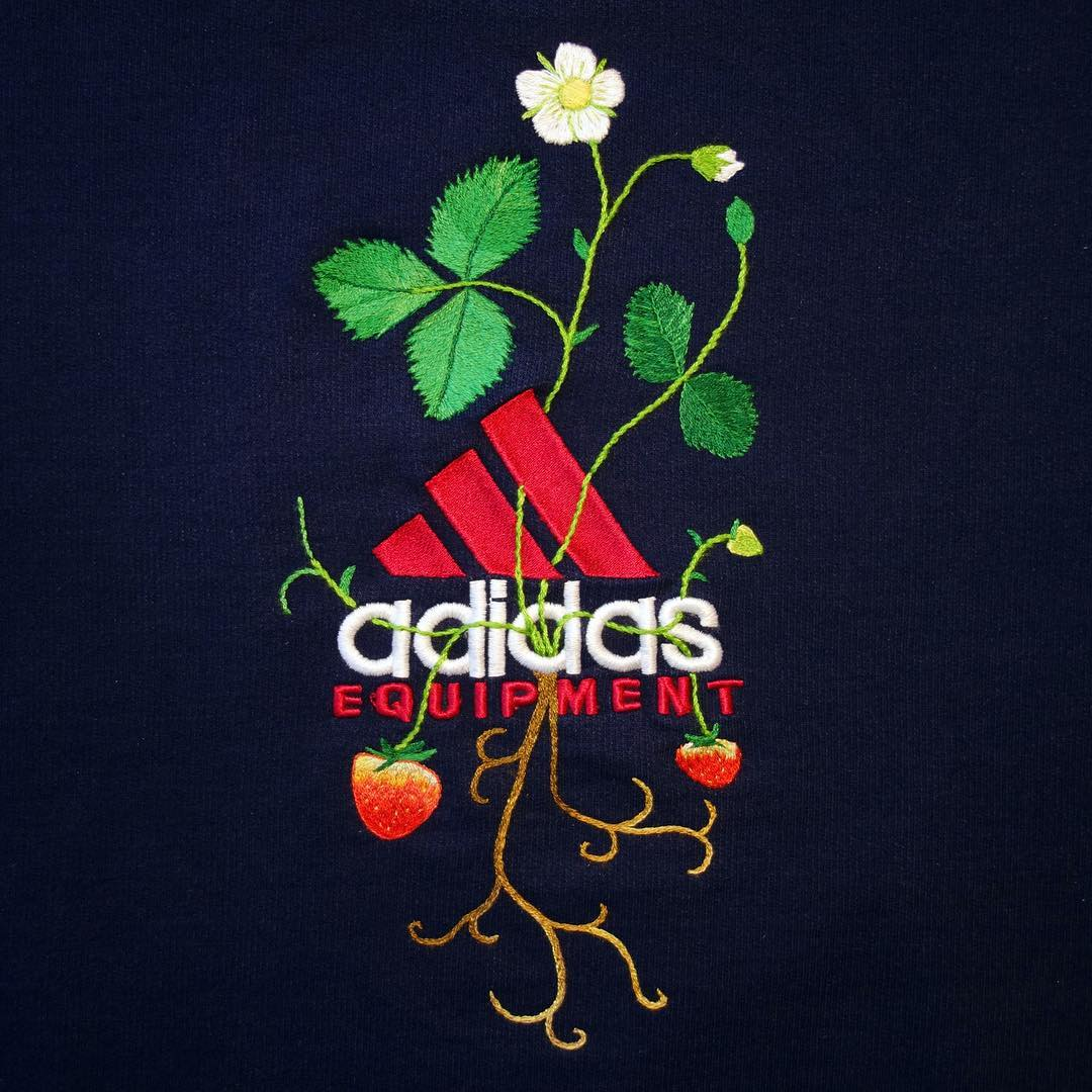 New Sportswear Logos Embroidered With Flowers and Vegetables by James Merry (6 pics)