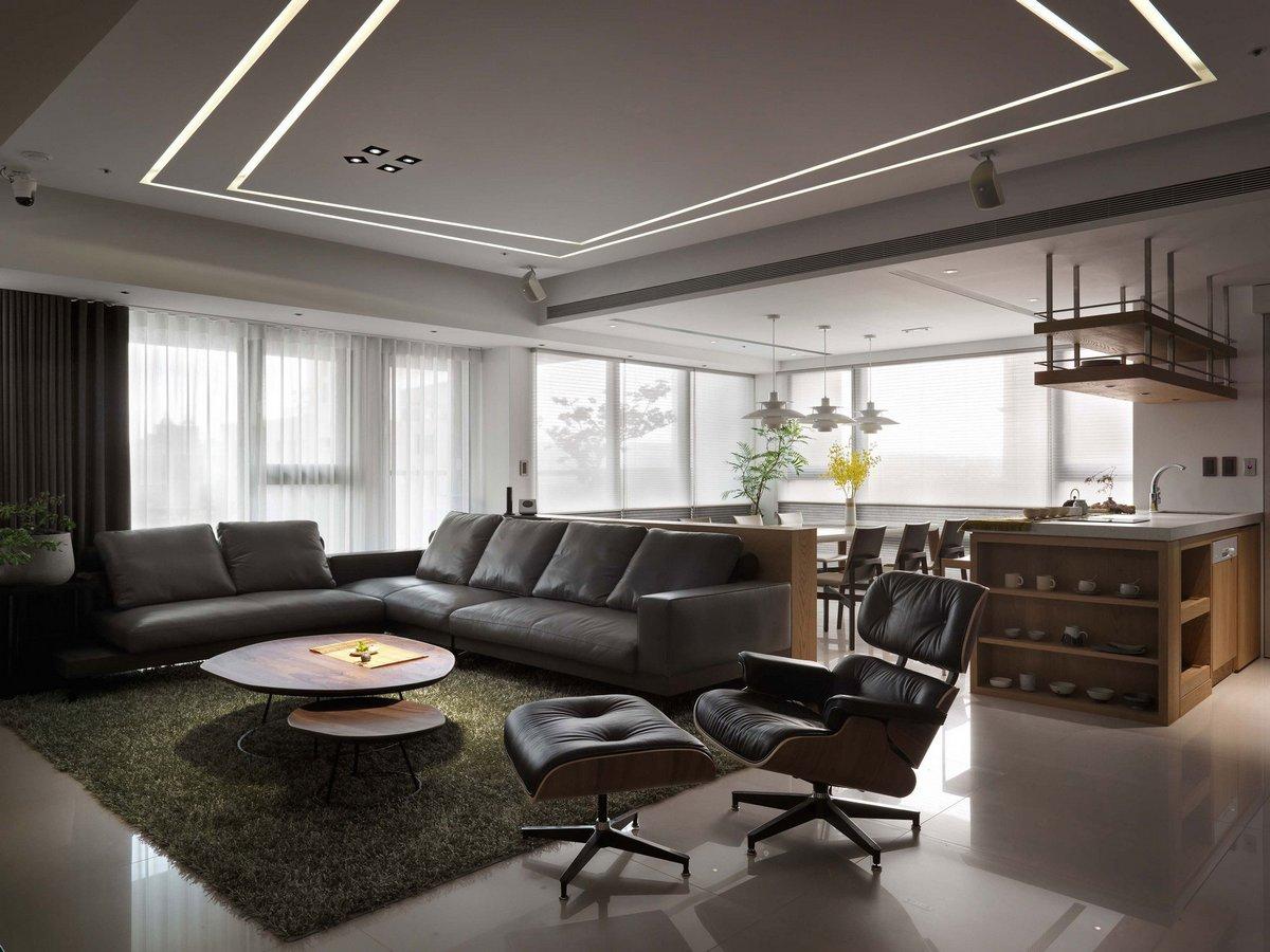 гостиная с кожаной мебелью