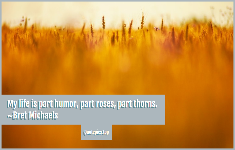 My life is part humor, part roses, part thorns. ~Bret Michaels