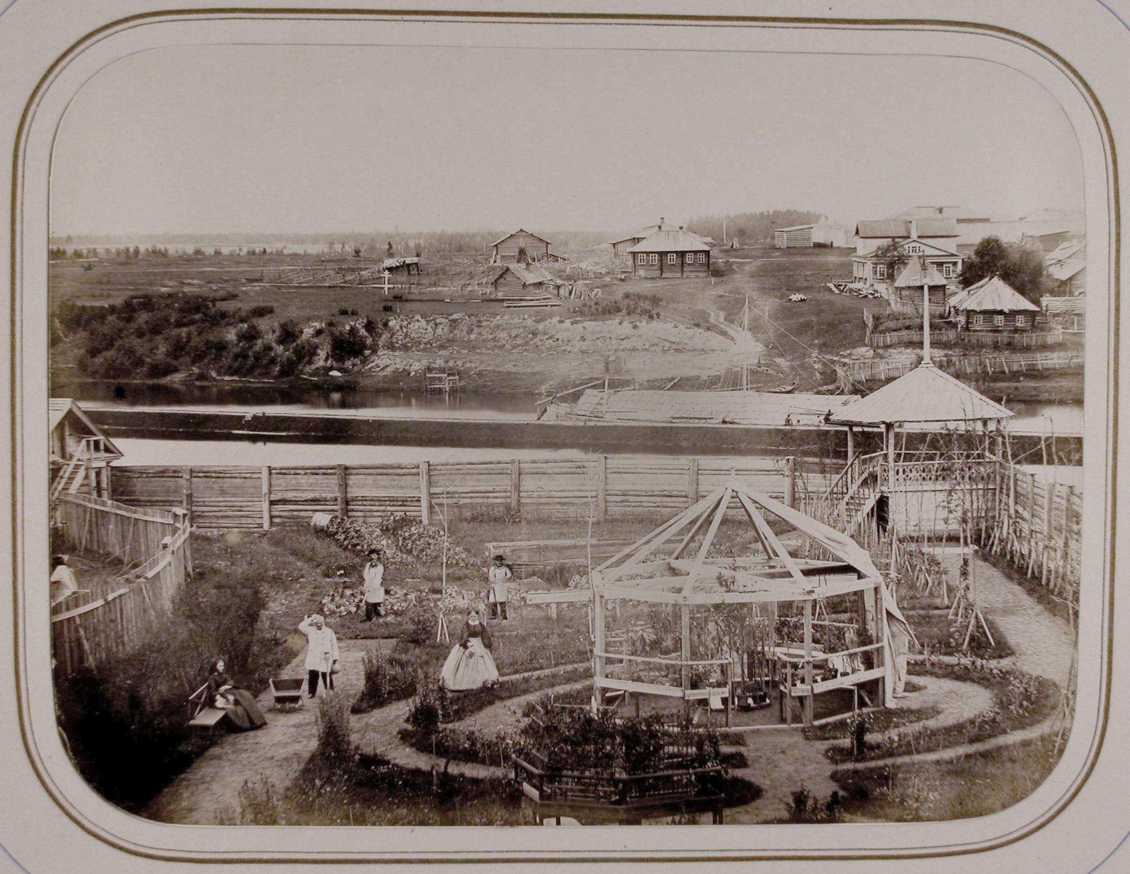 Вид части сада,реки и жилых домов города (вид из дома, занимаемого А.П.Нордштейном)