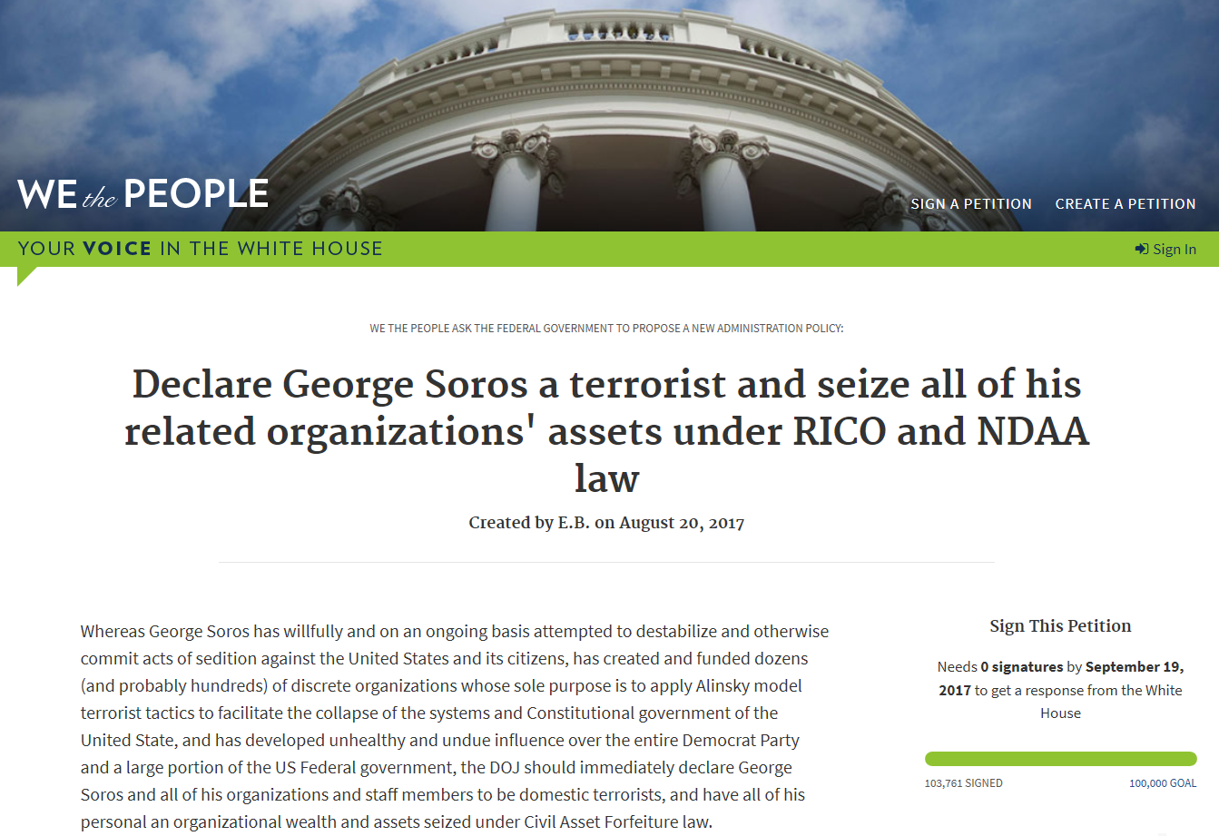 Declare George Soros a terrorist and seize all of his related organizations' assets under RICO and NDAA law