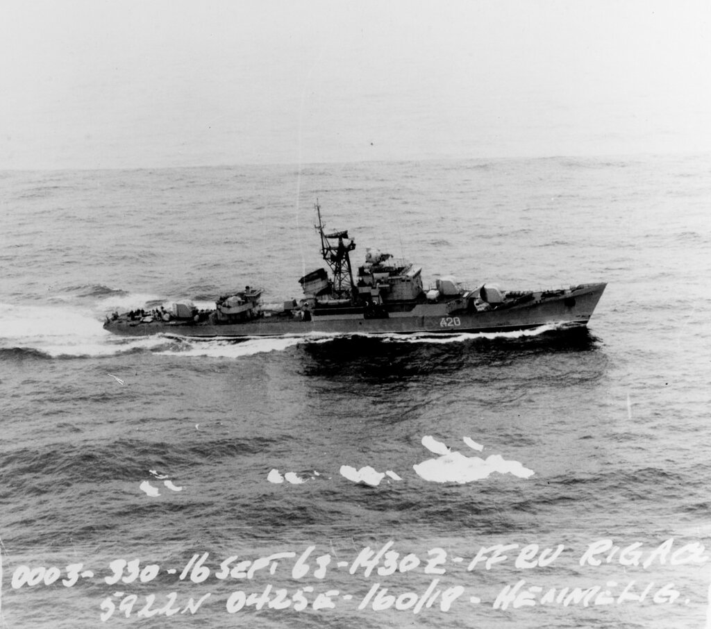Soviet Northern fleet Riga class ocean escort, photographed at 1430 hours Zulu time, 16 September 1963, West of Southern Norway in position 59-22 North, 004-25 East.