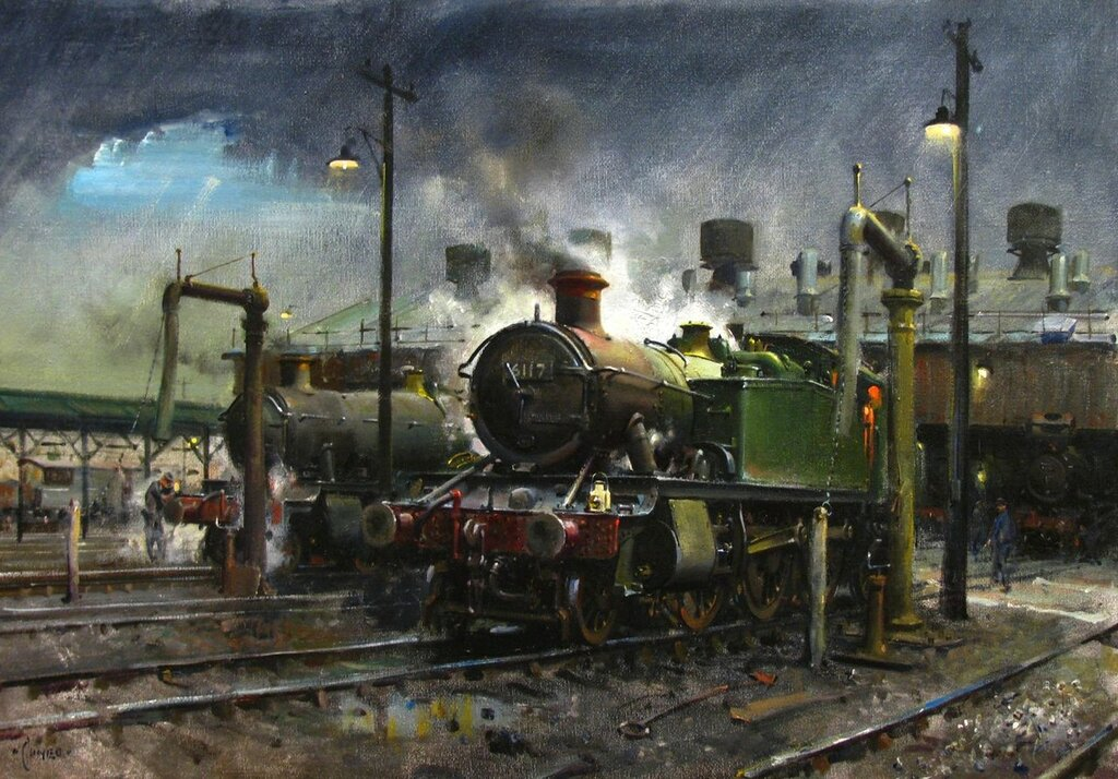 Terence Cuneo - Storm over Southall Shed (1978)