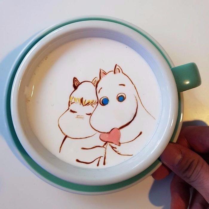 Кофейный арт. Талантливый бариста из Кореи создает удивительные узоры на латте (10 фото)