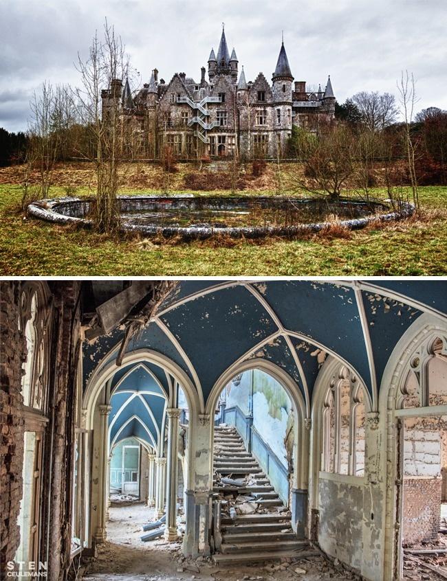 © Bert Kaufmann  © Sten Ceulemans  Красивый неоготический замок стоит пустой изаброшенн