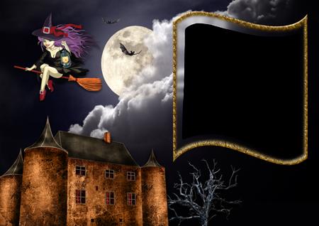 Рамка для фото с летящей на метле ведьмой над желтым домом под луной