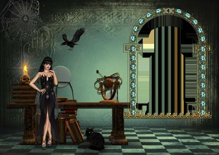 Рамка для фото со стоящей около стола с книгами и снадобьями ведьмой в замке и черным котом