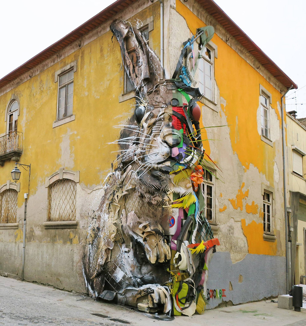 New Split-View Trash Sculptures by Bordalo II Combine Wood and Colorful Plastics Into Gigantic Animals (7 pics)