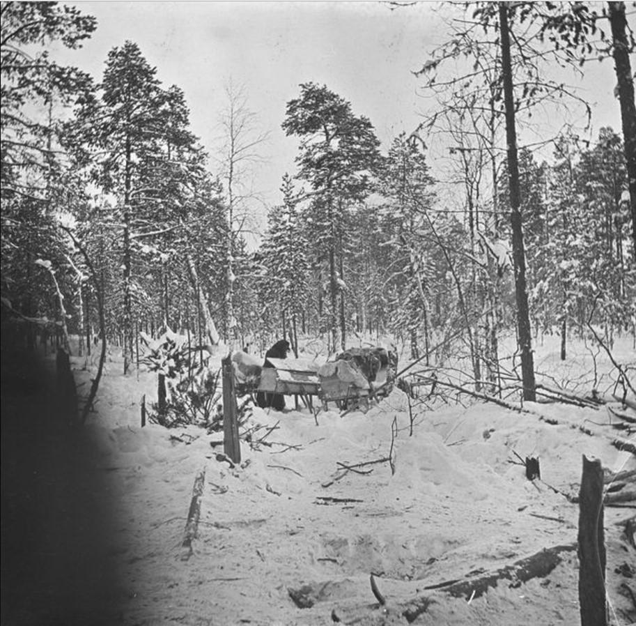 19. Люди и олени в снежном лесу, подготовка к отправлению