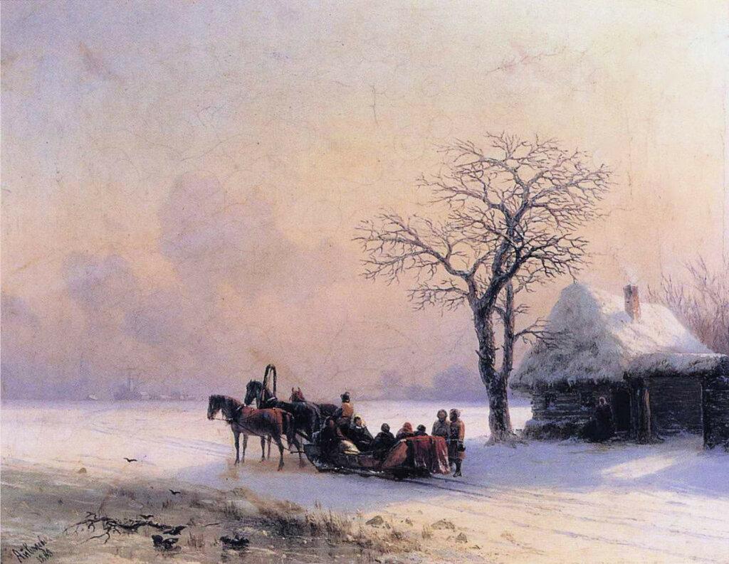 Зимняя сцена в Малороссии 1868 год