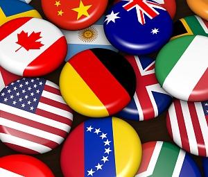 Открытка. День туризма. Значи-флаги разных стран