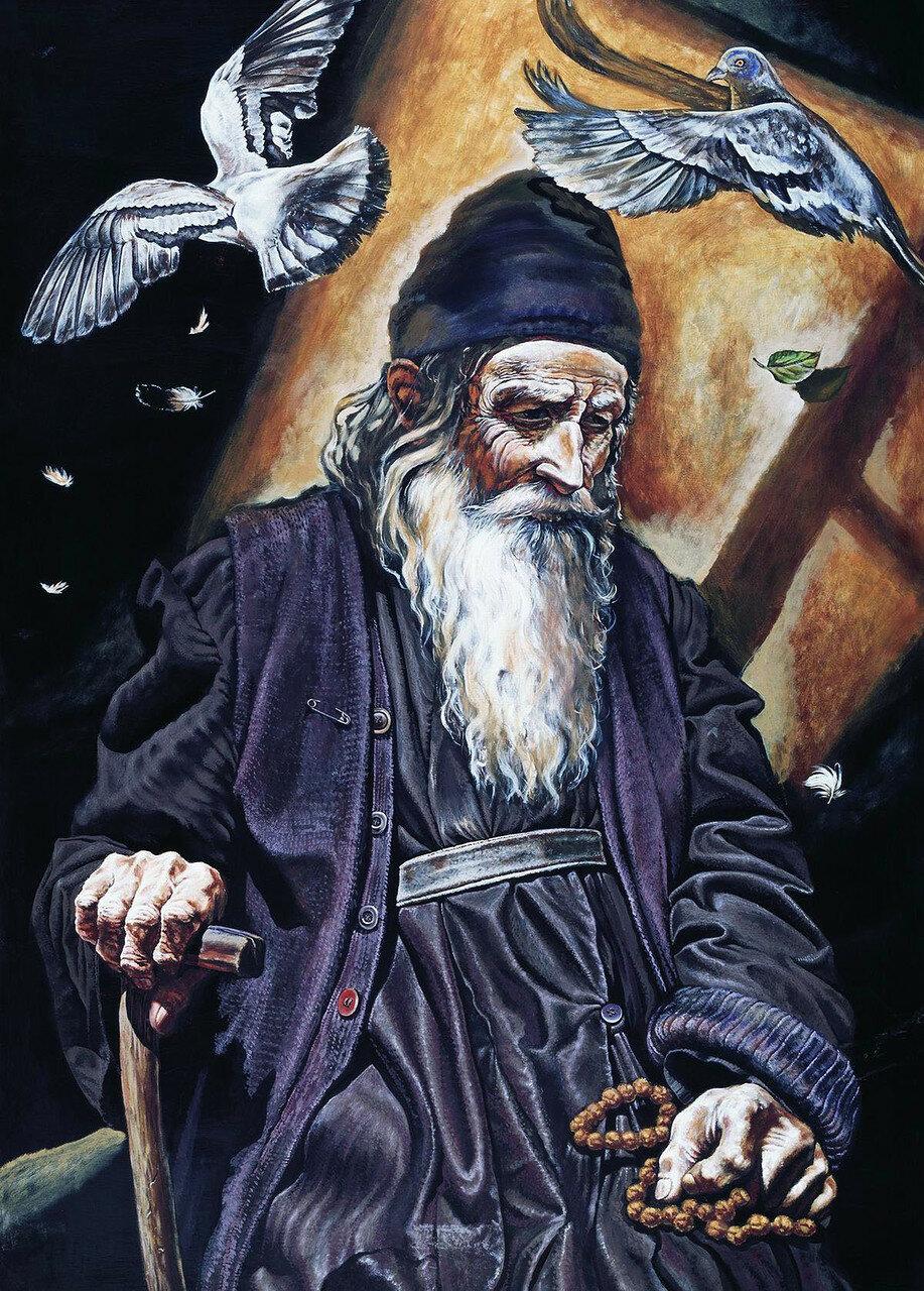 14. Старец с птицами. 2003.Михаил Малеев (о. Михаил). jpg