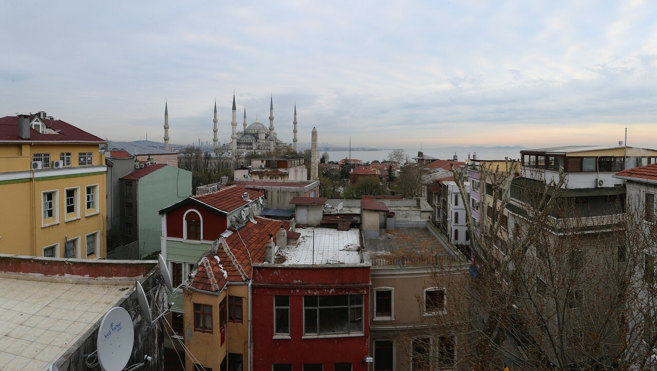 Dawn in Istanbul. View from the roof of Artemis Old City hotel