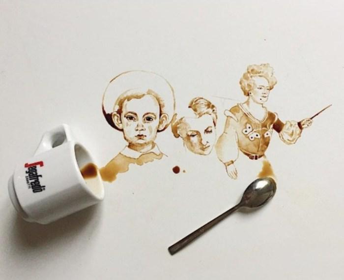 Кофе не желаете? Очаровательные рисунки, созданные при помощи кофейных пятен