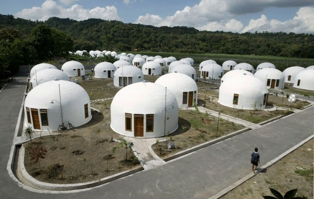 A view of about 70 domes houses, which were built by U.S.-based Domes for the World, for villagers w