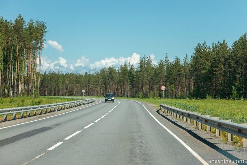 Трасса А-119 в окрестностях Вытегры