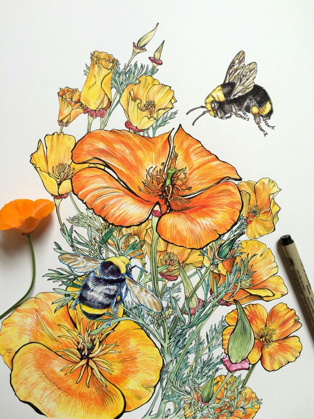 Artista mergulha no mundo das abelhas e das flores