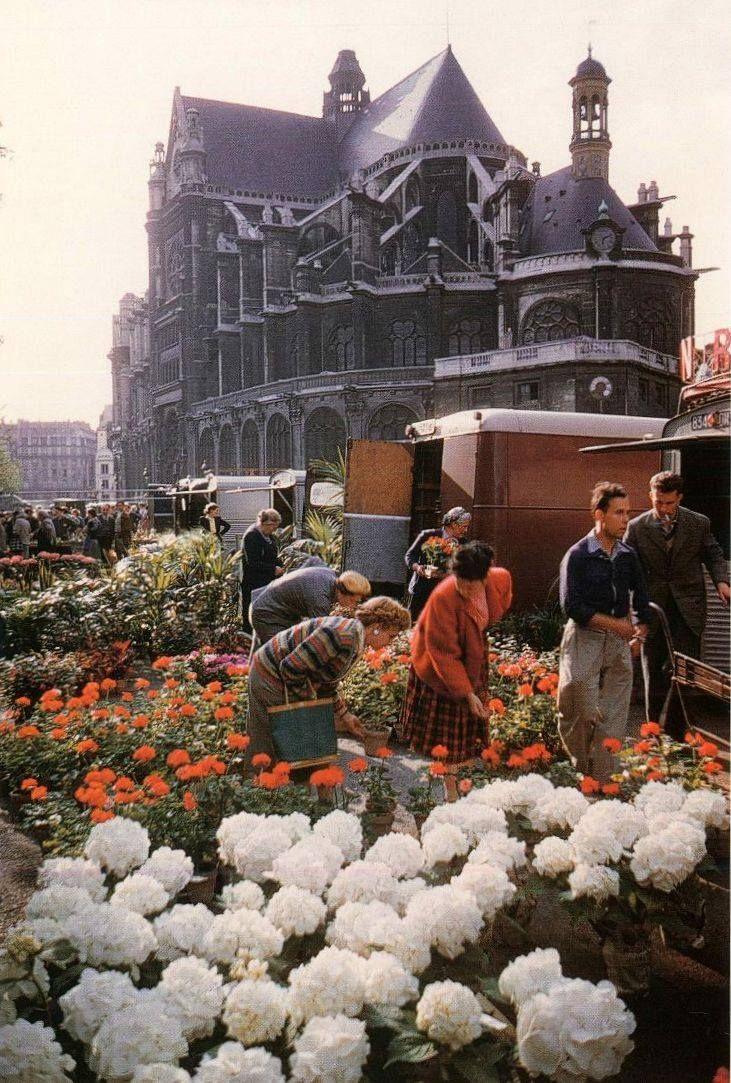 1960. Цветочный рынок возле церкви Сент-Эсташ