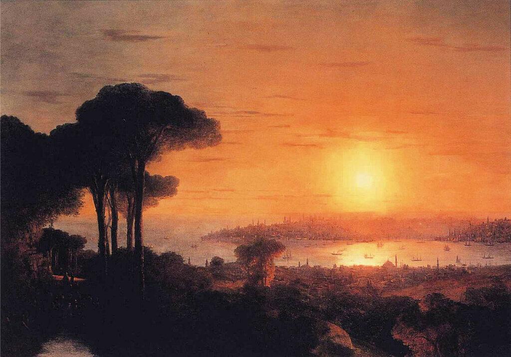 Закат солнца в бухте Золотой Рог, 1866 год