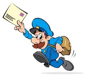 День почты! Почтальон бежит с письмом