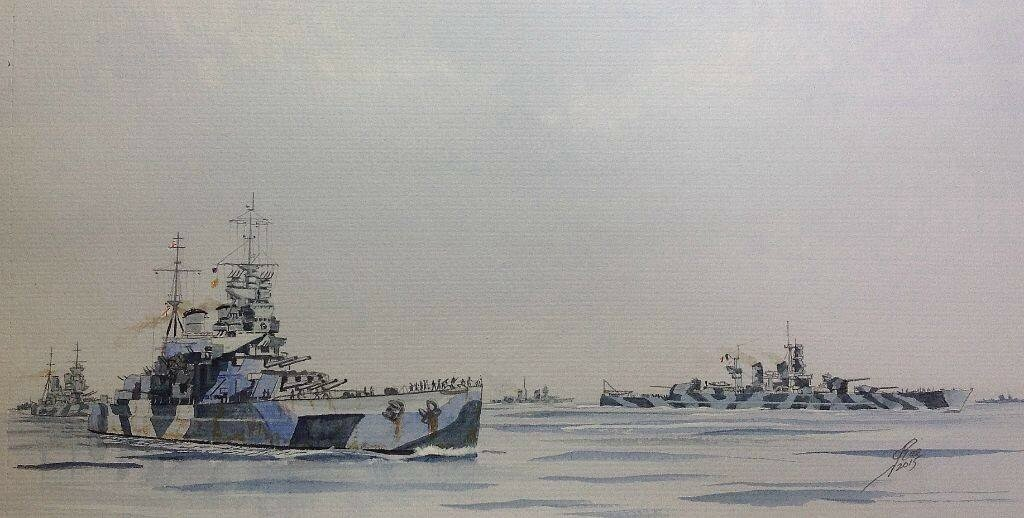 HMS Howe and KG V escort Italian Battleships Vittorio Venitto and Littorio, four Crusers and Destroyers to Alexandria 1943.