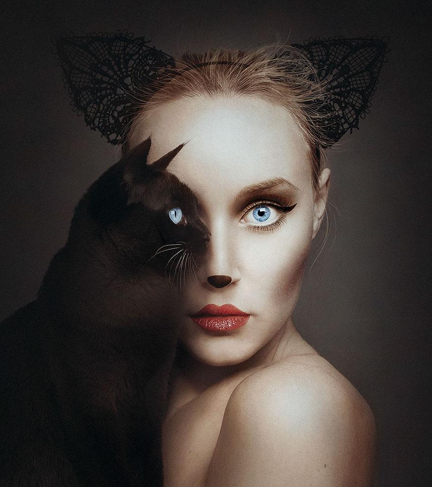 Автопортреты с глазами животных от Флоры Борси (12 фото)