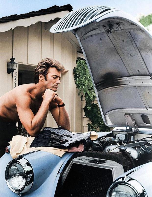 Клинт Иствуд за работой, 1960 год.