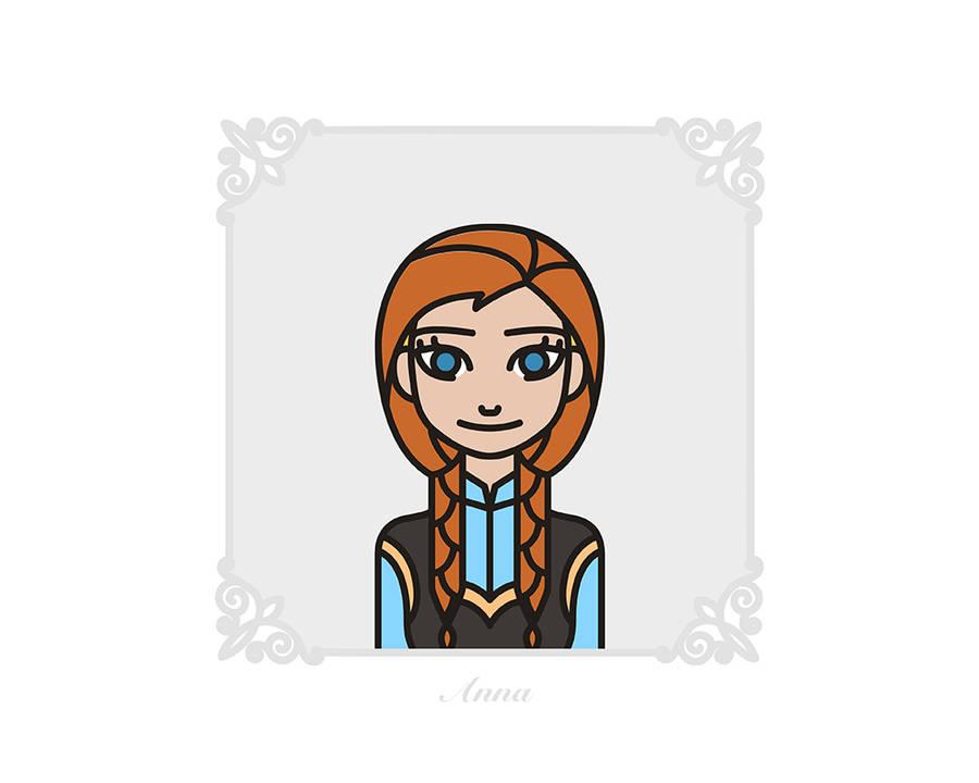 Flat Disney Characters Portraits