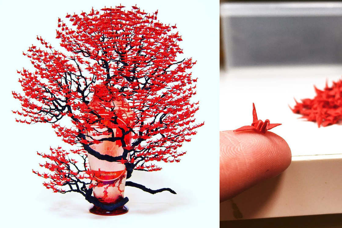 Amazing bonsai made of thousands of miniature origami (19 pics)