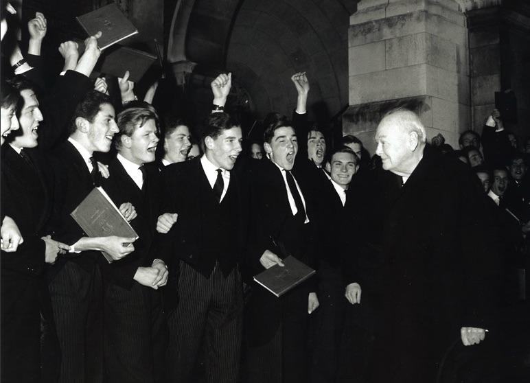 Winston Churchill with some students