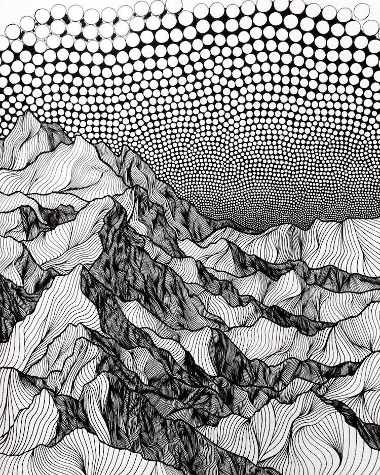 A beleza das montanhas registrada por linhas e pontos