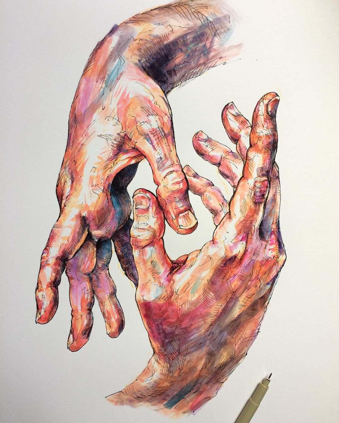 Hands and Flowers - Les illustrations poetiques de Noel Badges Pugh